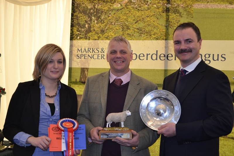 Malcolm Stewart takes the overall Sheep Champion and Beltex Champion awards